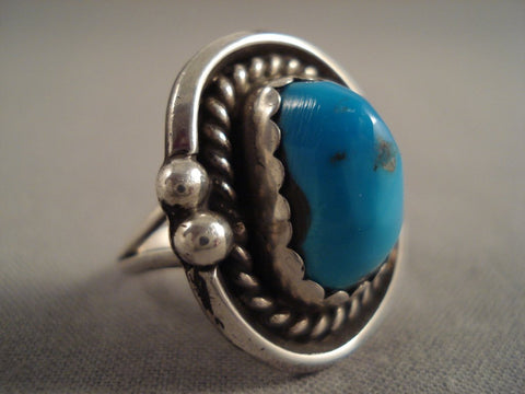 Wonderful Vintage Navajo Bisbee Turquoise Native American Jewelry Silver Ring Old-Nativo Arts