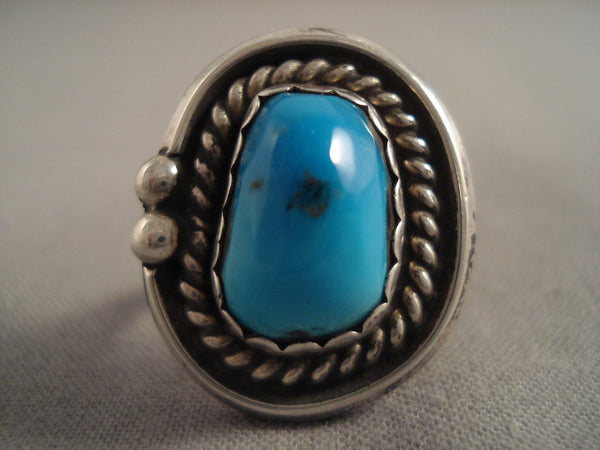 Wonderful Vintage Navajo Bisbee Turquoise Native American Jewelry Silver Ring Old