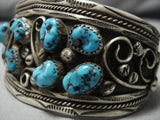 Wonderful Vintage Navajo Turquoise Native American Sterling Silver Bracelet Old-Nativo Arts