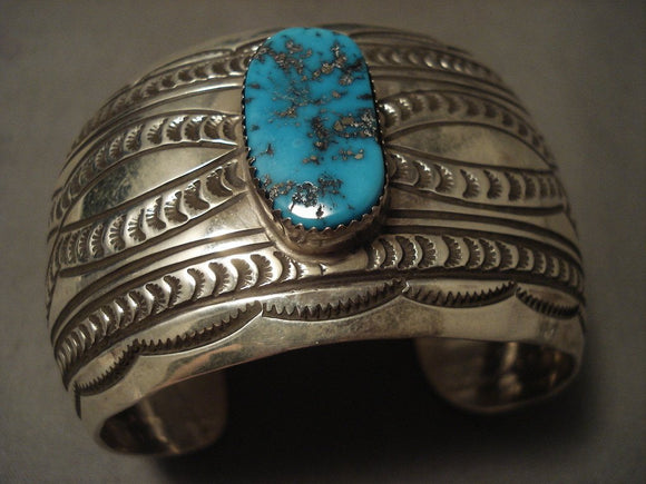 Wow Now Thats Some Nice Stamp Work Navajo Native American Jewelry jewelry Turquoise Bracelet-Nativo Arts