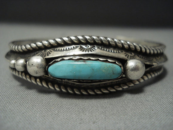 Wow Vintage Zuni Green Royston Turquoise Sterling Native American Jewelry Silver Bracelet-Nativo Arts
