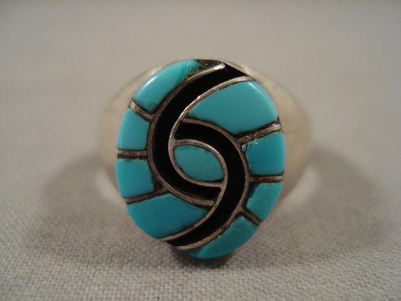 Wow Vintage Zuni 'Swirls Of Turquoise' Big Native American Jewelry Silver Ring-Nativo Arts