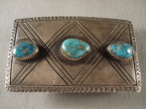 X Marks The Spot Old Navajo Turquoise Native American Jewelry Silver Buckle-Nativo Arts
