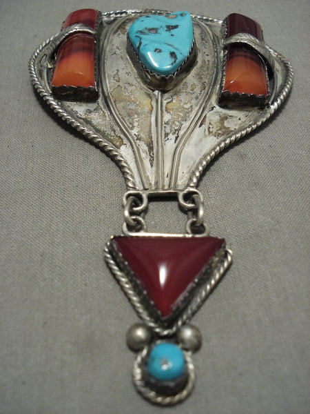 Xxl Gigantic Vintage Navajo 'Hot Air Balloon' Turquoise Native American Jewelry Silver Pendant Pin Old-Nativo Arts