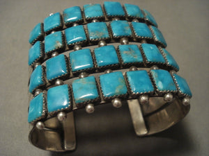 Xxl Very Rare Vintage Navajo 'Squared Turquoise' Native American Jewelry Silver Bracelet-Nativo Arts