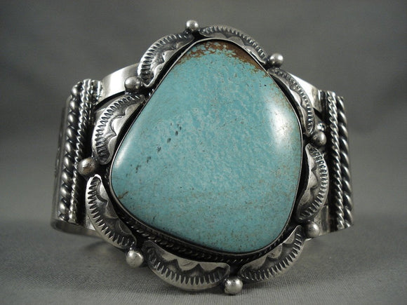 Xxl Vintage Navajo Light Green Turquoise Native American Jewelry Silver Bracelet Old-Nativo Arts