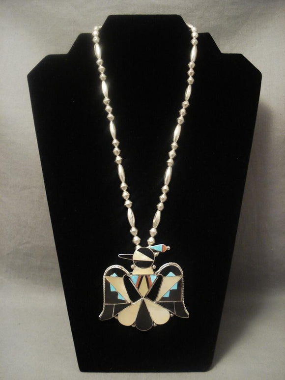 Xxl Vintage Zuni Thunderbird Dancer Native American Jewelry Silver Bead Necklace-Nativo Arts