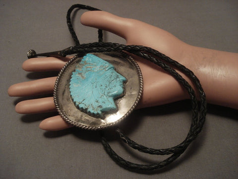Xxl Xxl Vintage Navajo #8 Turquoise Indian Head Native American Jewelry Silver Bolo Tie Old-Nativo Arts