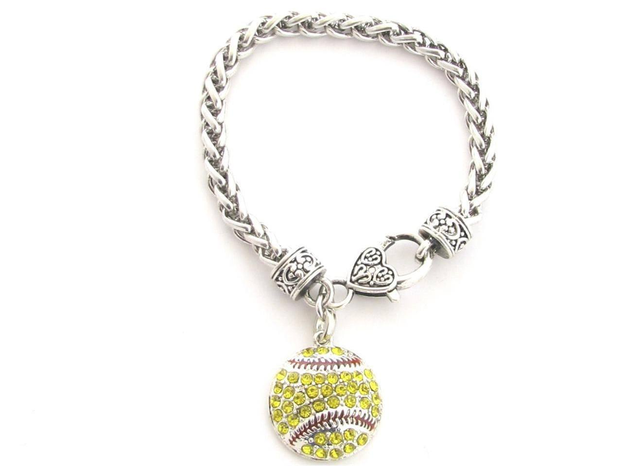 Softball pendant bracelet the proud sports mom jewelry softball pendant bracelet aloadofball Gallery
