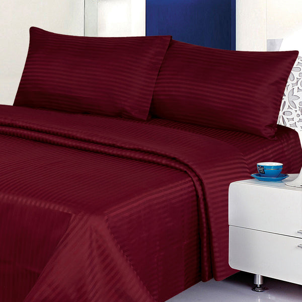 Classic Dobby Stripe Burgundy Bed Sheet Set - DecoBuster