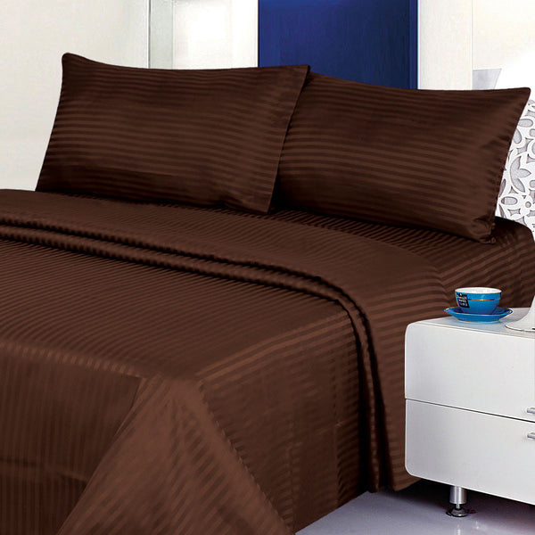 Classic Dobby Stripe Coffee Bed Sheet Set - DecoBuster
