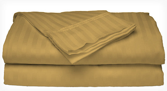 Gold 400 Thread Count 100% Cotton Sateen Dobby Stripe Sheet Set - DecoBuster