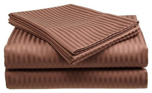 Coffee 400 Thread Count 100% Cotton Sateen Dobby Stripe Sheet Set - DecoBuster