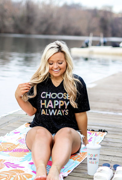 Choose Happy Always SS V-Neck- Dark Night