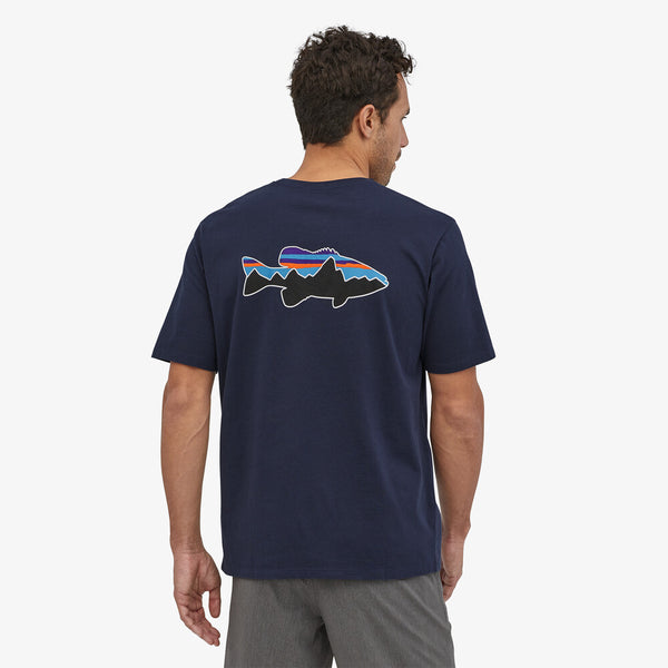 M Fitz Roy Fish Organic Cotton T-shirt- Upwell Blue w/Fitz Roy Redfish