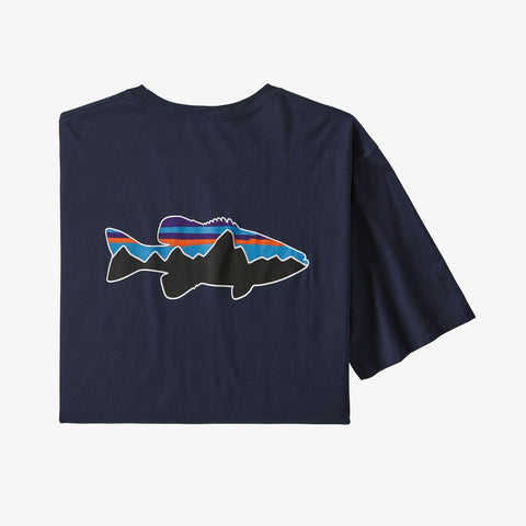 M Fitz Roy Fish Organic Cotton T-shirt- New Navy w/Fitz Roy Smallmouth