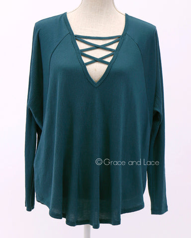 Criss Cross Raglan Top