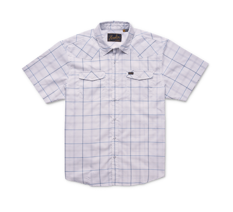 H Bar B Tech Shirt- Portella Plaid: Eggshell
