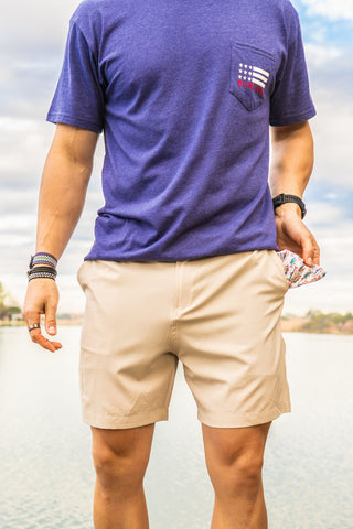 Performance Shorts - Khaki: Fish Pockets
