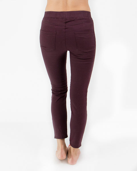 Moto Jeggings- Wine
