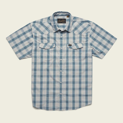 H Bar B Snapshirt: Neches Plaid - River Blue