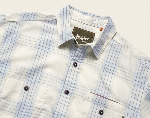 Aransas Shirt- Big Pane Plaid: Rising Blue