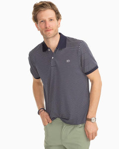 Sunfish Striped Jack Performance Polo - True Navy