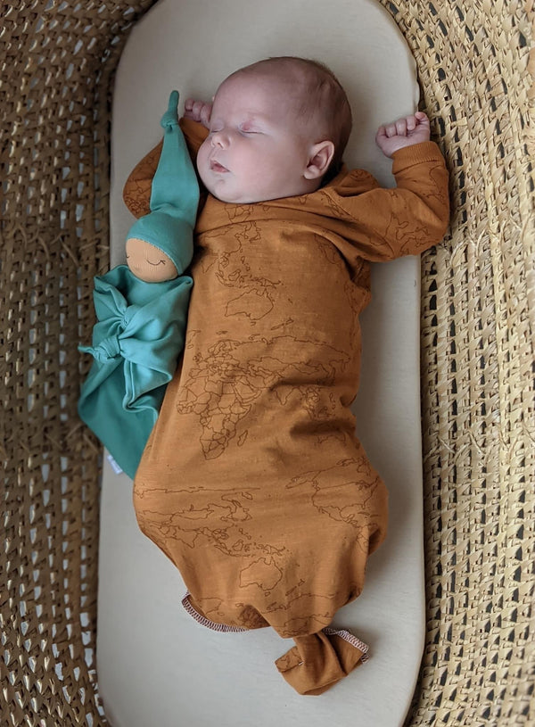 Chestnut Maps SLUB - Knotted Layette Gown
