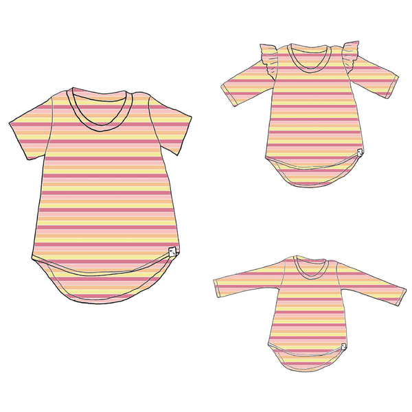 Party Stripes - Lil McKinley Tunic Tee {3 sleeve lengths}