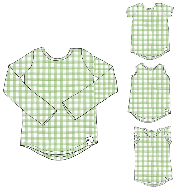 Light Green Gingham - Lil Essential Tee/tank