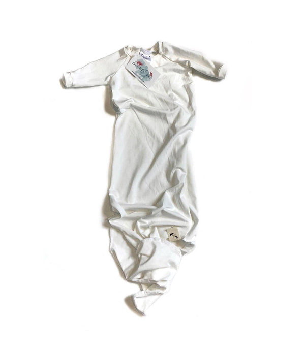 Off White Bamboo Knit - Knotted Layette Gown