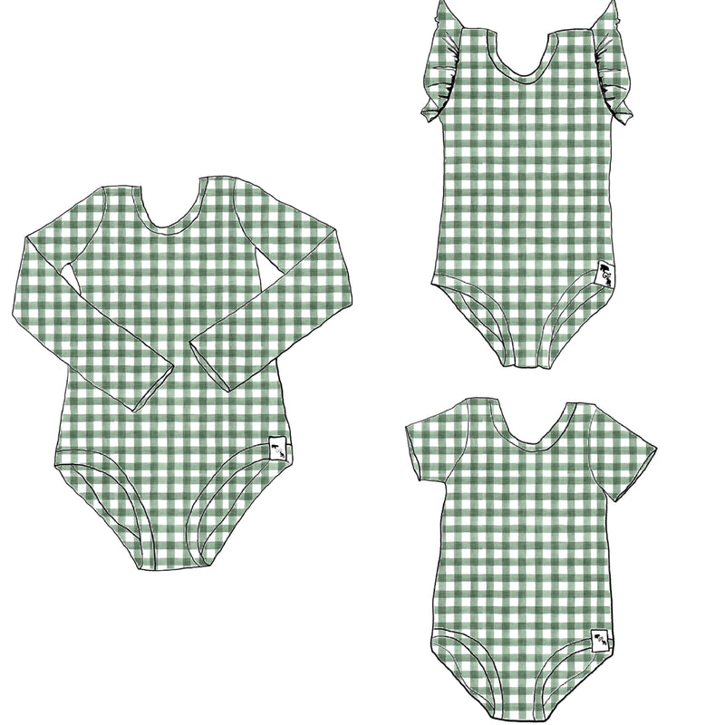 Summer Green Gingham - Body Suit {4 sleeve lengths}