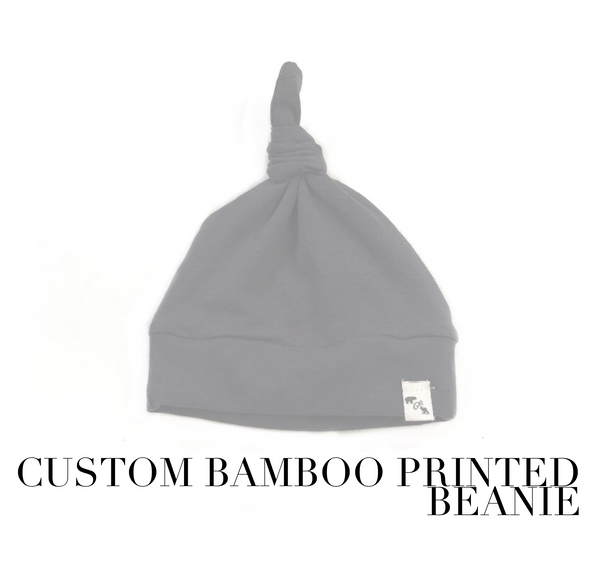 Custom printed bamboo - knotted beanie
