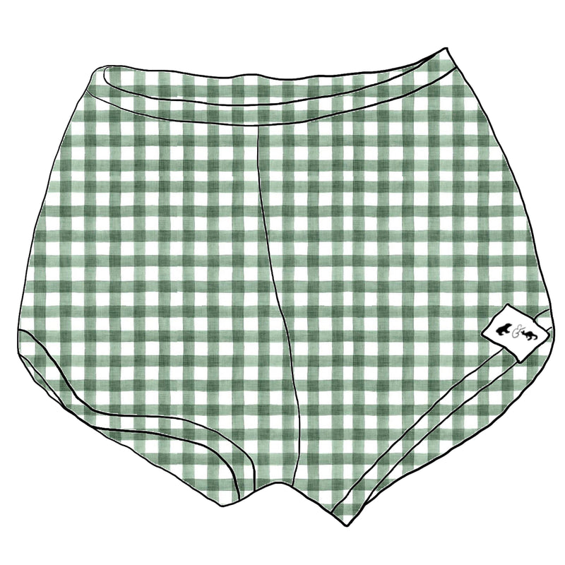 Summer Green Gingham - Track Shorts