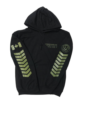 LIMITED EDITION - Underground Aviator Hoodie Black (Military Green Writing) - Underground Gear Shop