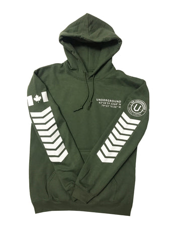 LIMITED EDITION - Underground Aviator Hoodie Military Green (White Writing) - Underground Gear Shop