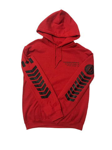 LIMITED EDITION - Underground Aviator Hoodie Red (Black Writing) - Underground Gear Shop