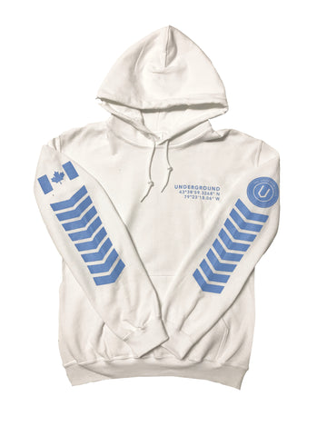 LIMITED EDITION - Underground Aviator Hoodie White (Baby Blue Writing) - Underground Gear Shop