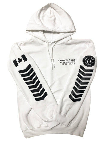 LIMITED EDITION - Underground Aviator Hoodie White (Black Writing) - Underground Gear Shop