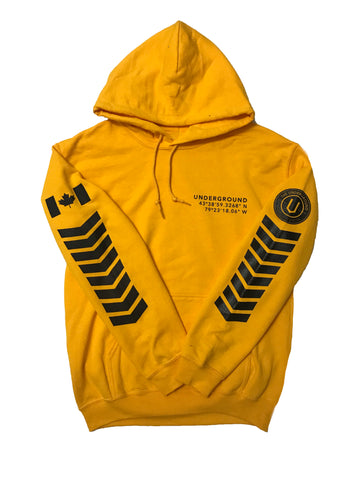LIMITED EDITION - Underground Aviator Hoodie Yellow (Black Writing) - Underground Gear Shop