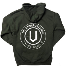 White on Military Green Underground Hoodie - Underground Gear Shop