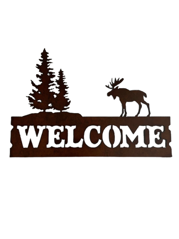 Horizontal Bronzed Metal Moose and Tree Welcome Sign