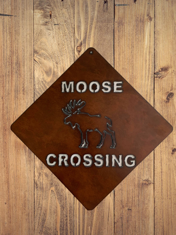 Bronzed Metal Moose Crossing Sign