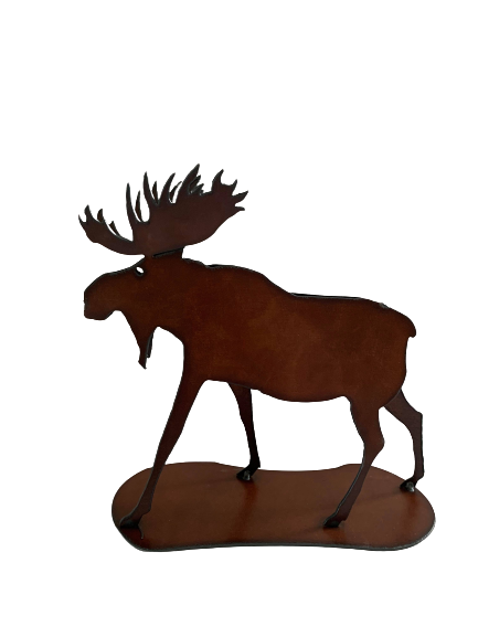 3-D Bronzed Metal Moose Art Figurine