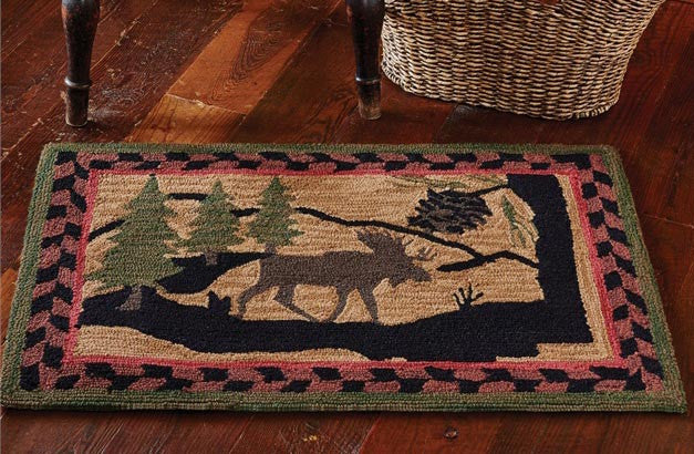 Hand Hooked Moose Washable Rug