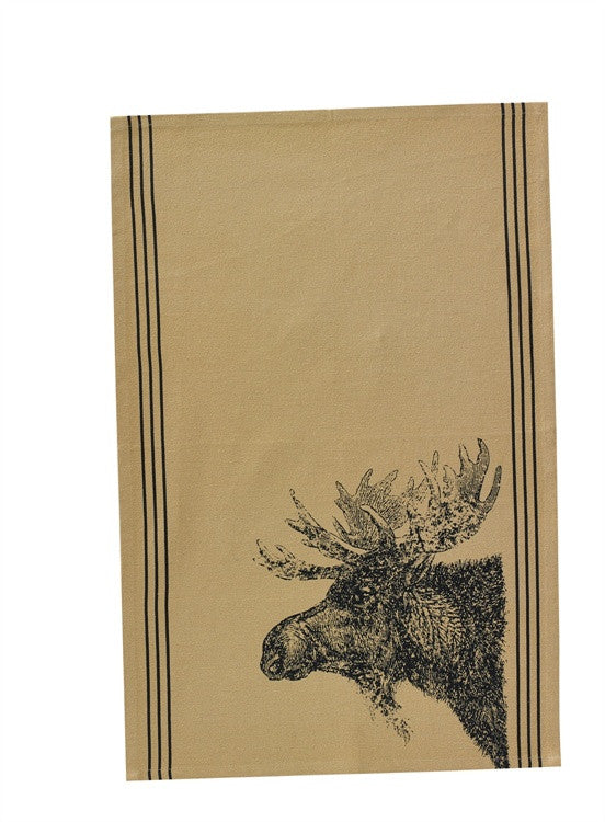 Rustic Moose Head Print Hand Towel