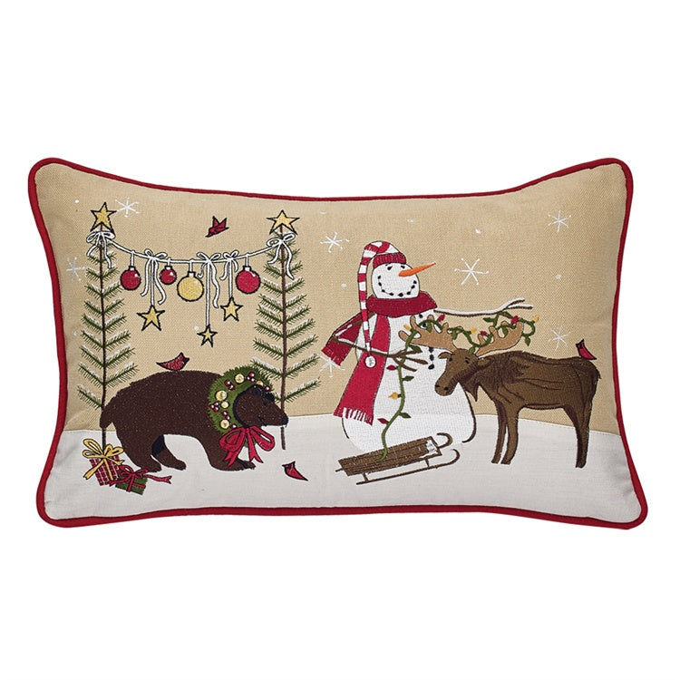 Wonderland Moose Christmas Throw Pillow