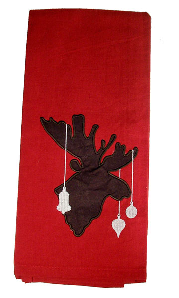 Ornamental Moose Christmas Dish Towel