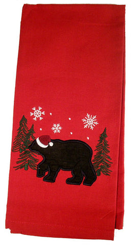 Winter Holiday Bear Dish Towel
