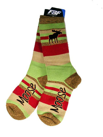 Moose Green and Red Socks